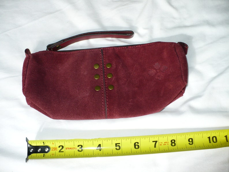 Patricia Nash maroon suede coin purse Italian leather handbag small organize 9x4 leather bag women clutch leather pull zipper closure pouch