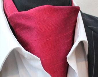 Cravat Ascot 100% Silk Front UK Made. Burgundy Red Dupion Silk + match hanky.