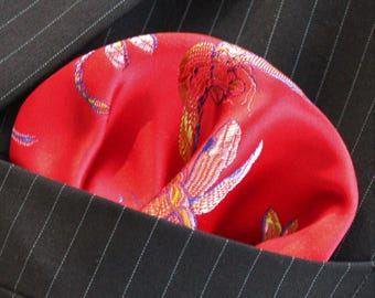 Hankie Pocket Square Handkerchief  Iridescent Dragonfly RED GOLD UK Made