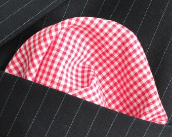 Hankie Pocket Square Handkerchief RED Gingham 2 Check Quality Cotton UK Made