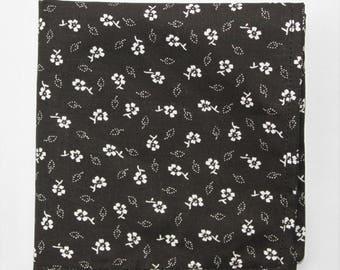 Hankie Pocket Square Handkerchief Black & White Floral Cotton UK Made