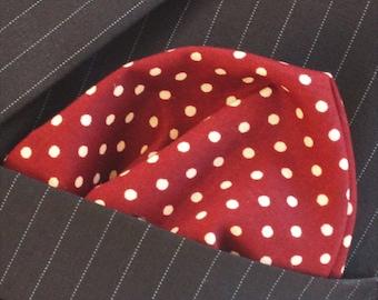 Hankie Pocket Square Handkerchief Wine RED Polka Dot.Premium Cotton UK Made