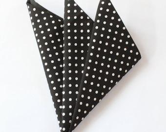 Hankie Pocket Square Handkerchief BLACK Polka Dot.Premium Cotton UK Made
