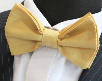 SILK Bow Tie. UK Made. Yellow Dupion SILK Premium Quality. Pre-Tied.