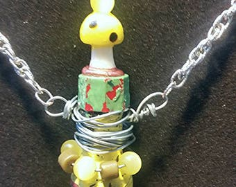 Yellow Toadstool Bottle Necklace