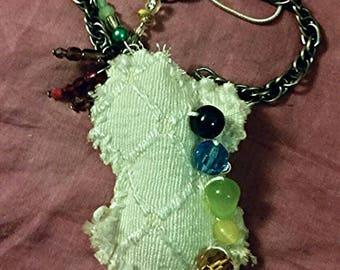 Rain drop cloud rainbow necklace