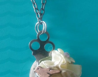 Shabby chic bird and watch face necklace