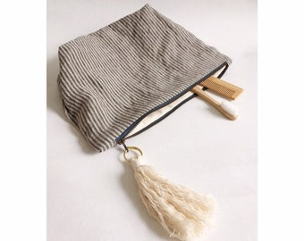 Handmade large striped Linen Pouch, wash bag, toiletries bag, Large zipper pouch, sustainable toiletry bag, cotton wash bag, Christmas gifts
