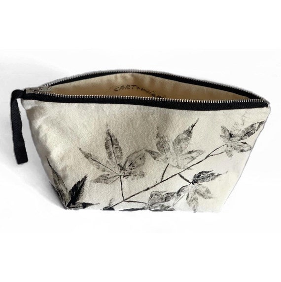 Leaf Printed Make Up Pouch, Natural Calico, sustainable gifts, gifts for her, gifts for her, gifts for them, Christmas gifts, handmade