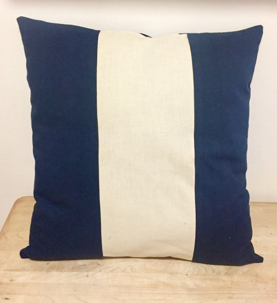 Navy + Calico Stripe Cushion Cover