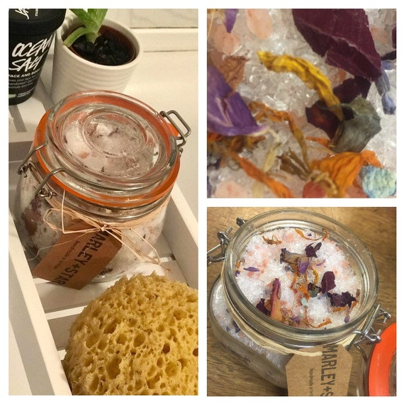 Lavender Bath Salts, Epsom Salt Bath,Himlayan Salt, Lavender Essential Oil, Dried Flowers Bath Soak