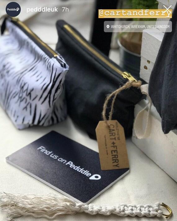 Makeup bag, gambian fabric, navy makeup bag, make up