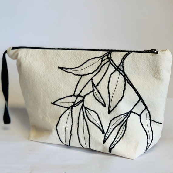 Handmade Leaf Embroidered Wash Bag, travel pouch, makeup bag, or storage