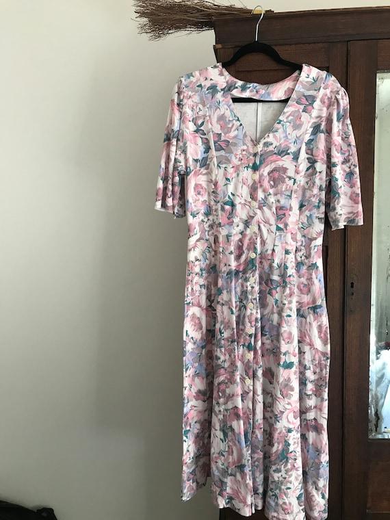 1980s handmade floral vintage dress - image 1