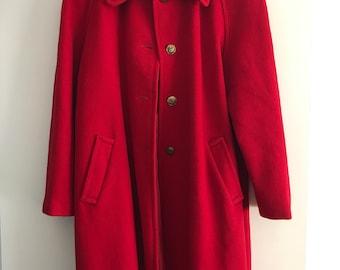 Vintage winter red coat 80s