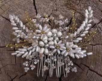 Bridal Hair comb Wedding jewelry Bridal jewelry Wеdding hair comb pearl comb