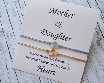 Connected Heart Jewelry Mother Daughter Gift Going Away Leaving The Parental Home Satin Cord Bracelet E23