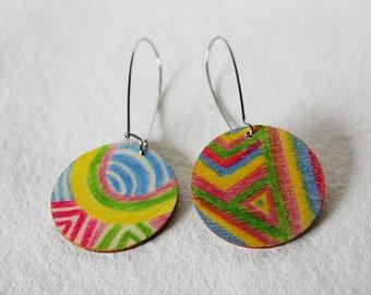 Multicoloured Circle Drop Earrings