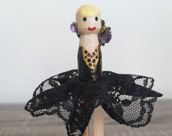 Spotty Ballerina Clothespin Doll
