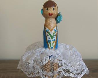 Blue Ballerina Clothespin Doll