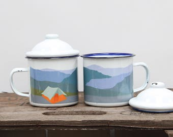 Camping Tent Boat Enamel Mug  |  Outdoor Mug  |  Camping Mug