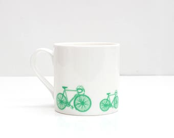 Bike Mug  |  Bone China Mug  |  Green Bicycle Mug