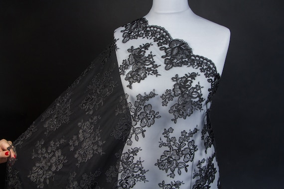 Black Bridal Lace Applique Black Lace Fabric Mermaid Dress Bodice Lace Glitter Gold Shimmer Black Tulle Lace Scalloped Lace by the Meter