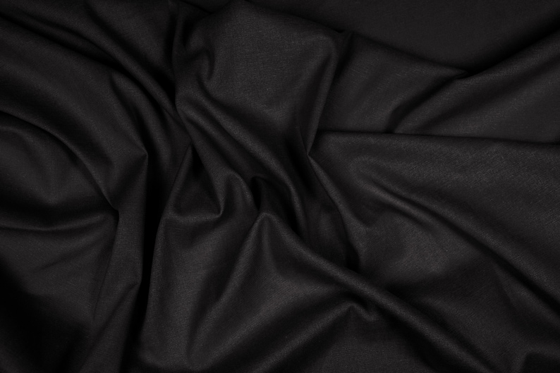 Black Flax by the Yard Black Linen by the Yard #19 Viscose Linen Blend Mediumweight Linen Fabric Flax Fabric Stretch Linen by the Meter
