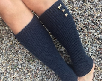 Blue leg warmers Knitted leg warmers with button Women's leg warmers Legwarmers Knit womens socks Boot leg warmers Ankle warmers