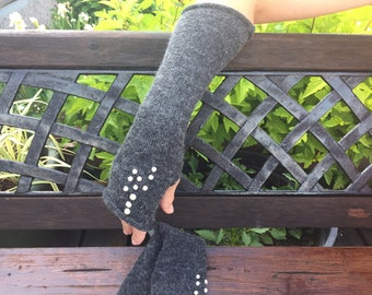 Grey arm warmers Long arm warmers Knit arm warmers  Long fingerless gloves Knit hand warmers Long arm warmers  Womans arm warmers