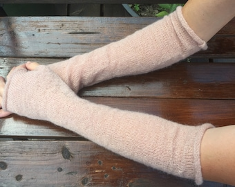 Beige arm warmers Wrist warmers Fingerless gloves Knit hand warmers Long arm warmers Warm winter Fingerless mittens Arm warmer