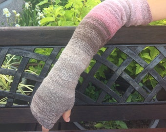 Multicolors fingerless gloves Long arm warmers Knit hand warmers Long arm warmers  Arm warmer Womans arm warmers