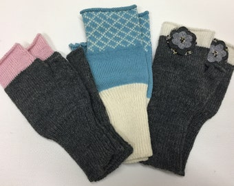 Arm Warmers Knit wool hand warmers fingerless gloves Knitted mittens Womens wrist warmers