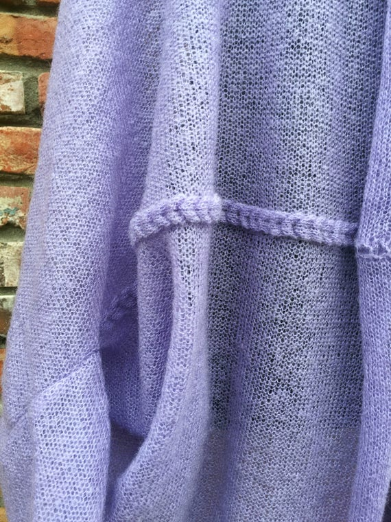 Oversized size plus sweater size Cardigan clothing sweater Cardigan sweater loose Cocoon sweater plus knit size Plus sweater amethyst qCESw