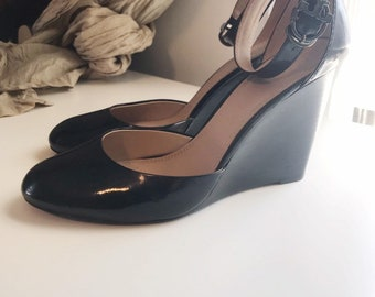 d27879bbc Tory Burch black patent leather wedge heels with ankle strap