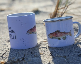 """Trout: Enamel cup """"The fast trout"""""""