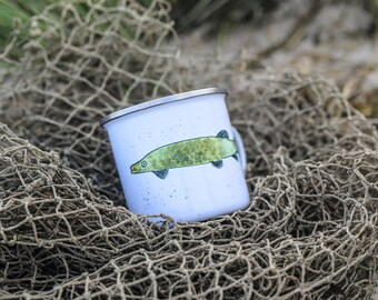 "Pike: Enamel cup ""Du steiler Hecht"" or ceramics"