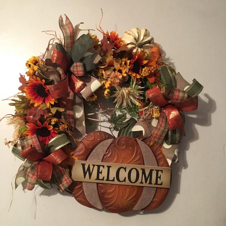 Fall Thanksgiving Pumpkin Welcome Wreath Door hanger