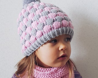 b0f0fc1f412 Woolen knitted hat Knit baby hat Toddler Girl Knit Toddler Pom pom hat