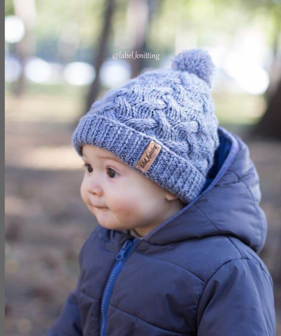 a8e9625fd44 Baby knit hat Pom pom hat knit winter hat baby boy hat Wool
