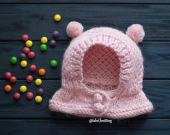 Newborn Girl Newborn Pom Pom Hat Baby shower gift Newborn knit hat Double Pom Pom