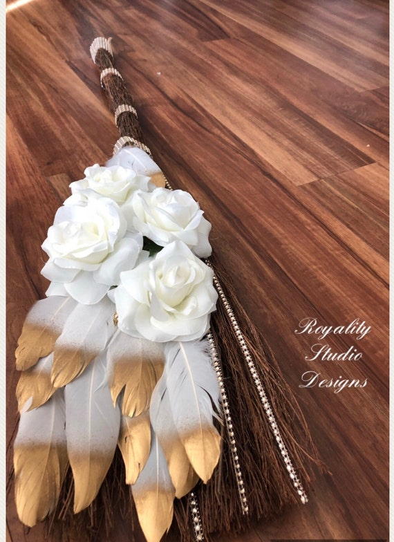 Pretty Wings Wedding Broom Wedding Tradition Of Jumping The Etsy