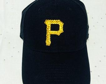 Women s New Bling Pittsburgh Pirates Swarovski Baseball Hat 7c2fae06b95
