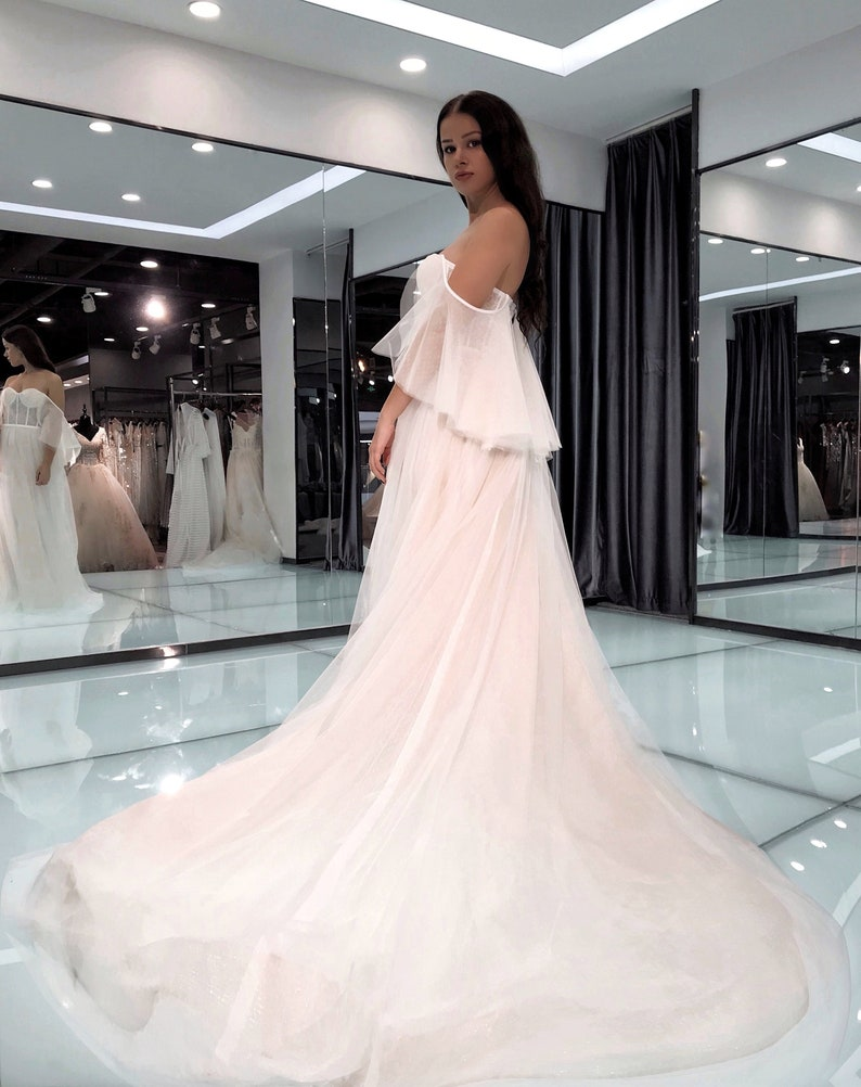 A Line Strapless Layered Tulle Boho Wedding Dress With Mesh Top Part And Convertible Bell Sleeves