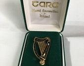 Tara Ware Hand enamelled Boxed Celtic Irish Harp Brooch