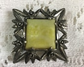 Celtic Miracle Signed Green Agate Style Square Silvertone Brooch -plaid Shawl