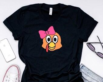 14438b97 Turkey Face with Pink Bow Shirt | Girl Turkey Face With Pink Bow | Funny  Thanksgiving Tee | Turkey Lover Gift idea Short-Sleeve Unisex T-Shi