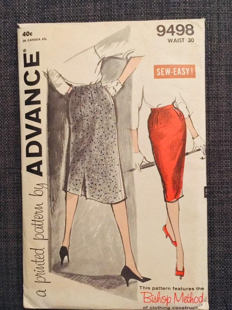 vintage 1960s pattern. classic 1960s lined pencil skirt EU40 UNCUT Advance 9498 pattern US12 UK14