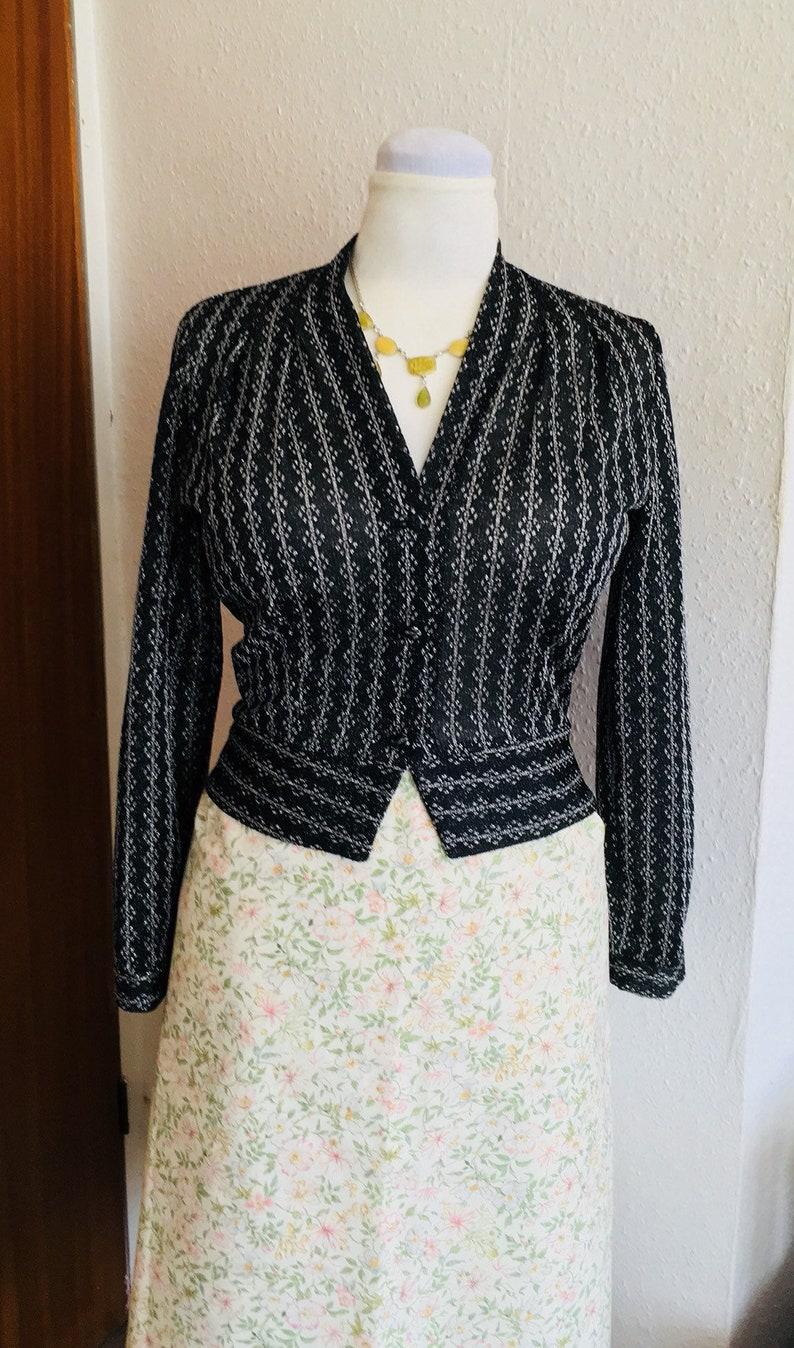 vintage 1960s. J Oscar Sharpe London EU38-40 black and silver lurex peplum unlined blouse light jacket UK10-12 US8-10