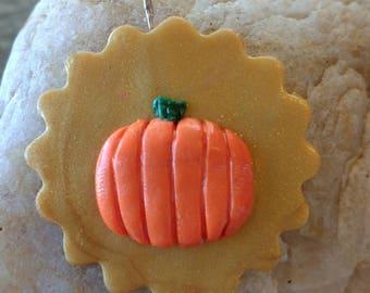 Pumpkin necklace charm polymer clay